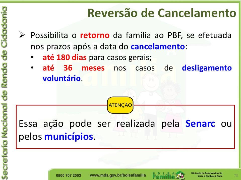 Reversão de Cancelamento 70 Possibilita o retorno da família ao PBF, se efetuada nos prazos após a data do cancelamento: até 180 dias para casos gerai