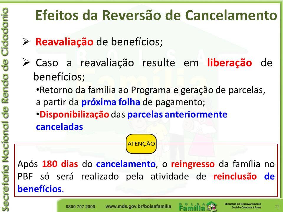 Efeitos da Reversão de Cancelamento 72 Reavaliação de benefícios; Caso a reavaliação resulte em liberação de benefícios; Retorno da família ao Program