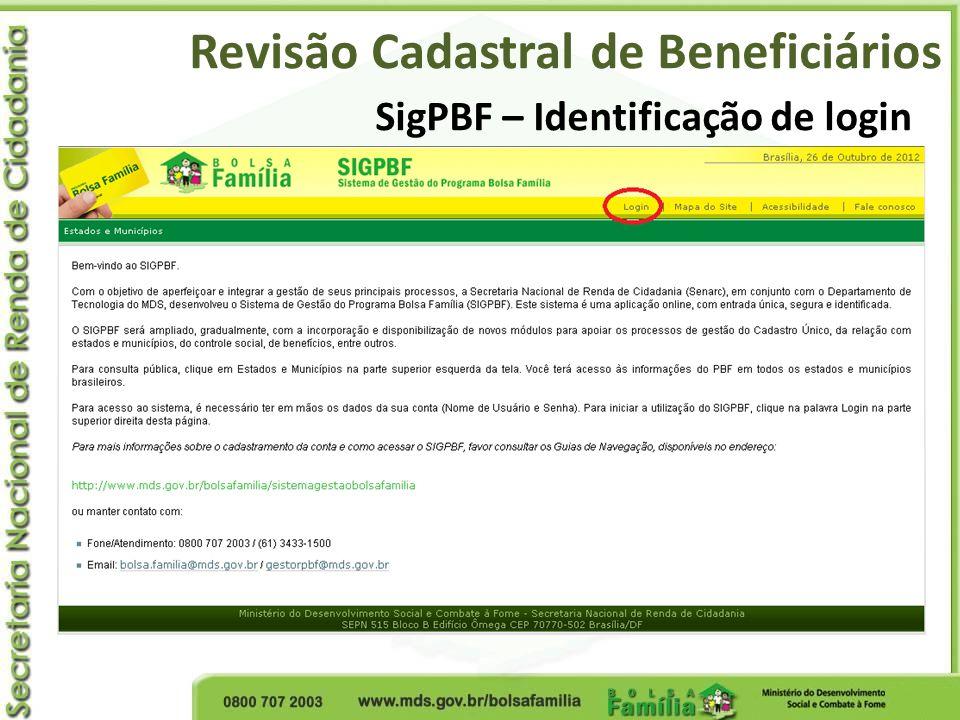 SigPBF – Identificação de login Revisão Cadastral de Beneficiários