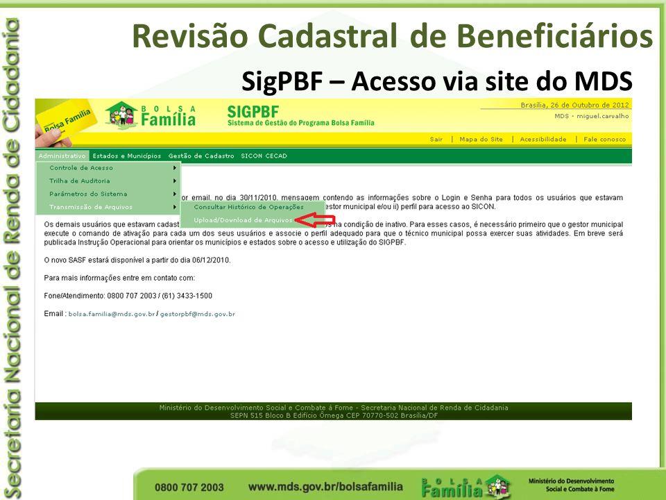 SigPBF – Acesso via site do MDS Revisão Cadastral de Beneficiários