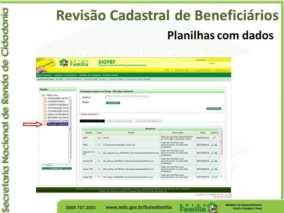 Planilhas com dados Revisão Cadastral de Beneficiários