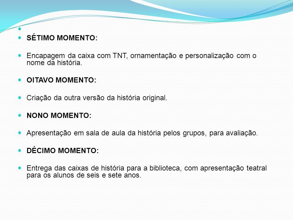 SÉTIMO MOMENTO: Encapagem da caixa com TNT, ornamentação e personalização com o nome da história. OITAVO MOMENTO: Criação da outra versão da história