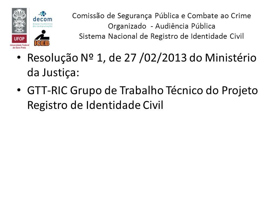 Resolução Nº 1, de 27 /02/2013 do Ministério da Justiça: GTT-RIC Grupo de Trabalho Técnico do Projeto Registro de Identidade Civil Comissão de Seguran