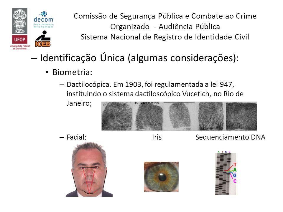 – Identificação Única (algumas considerações): Biometria: – Dactilocópica. Em 1903, foi regulamentada a lei 947, instituindo o sistema dactiloscópico