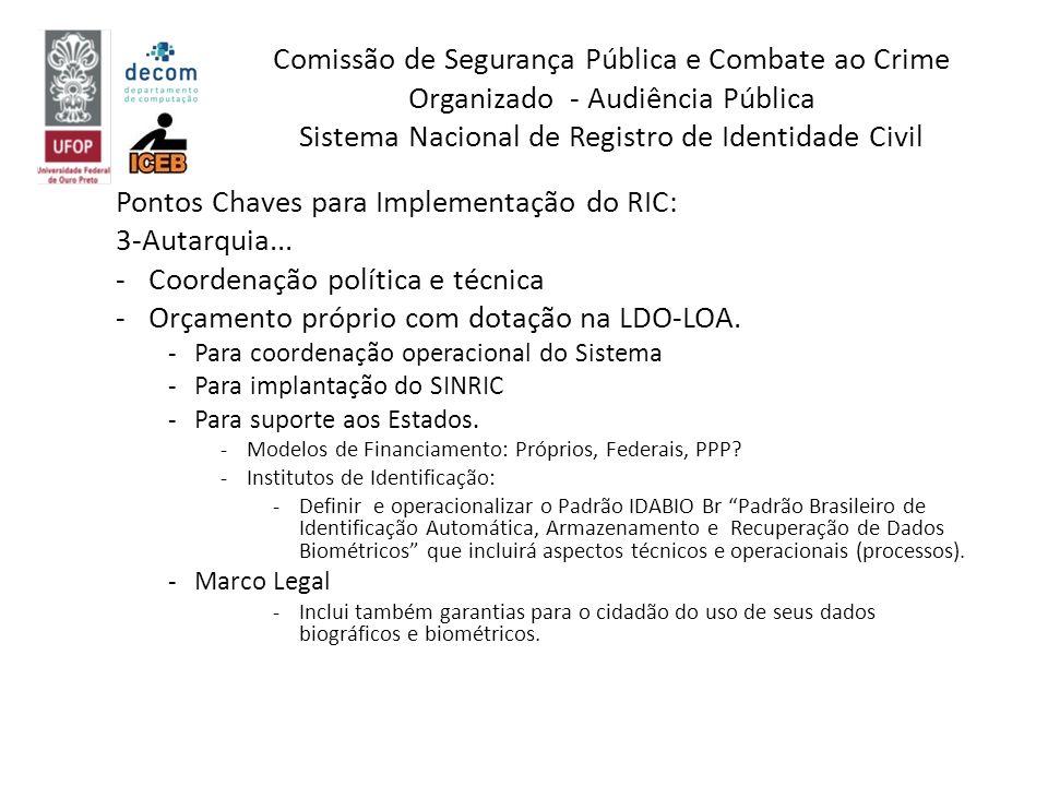 Pontos Chaves para Implementação do RIC: 3-Autarquia... -Coordenação política e técnica -Orçamento próprio com dotação na LDO-LOA. -Para coordenação o