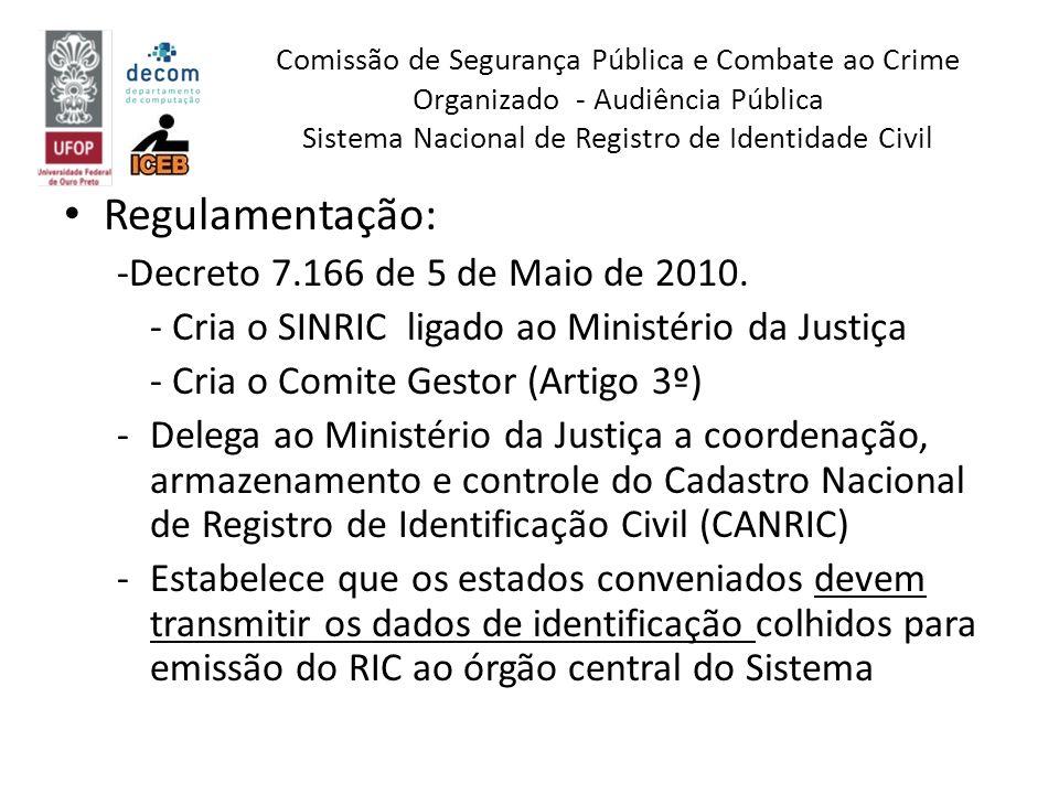Regulamentação: -Decreto 7.166 de 5 de Maio de 2010. - Cria o SINRIC ligado ao Ministério da Justiça - Cria o Comite Gestor (Artigo 3º) -Delega ao Min