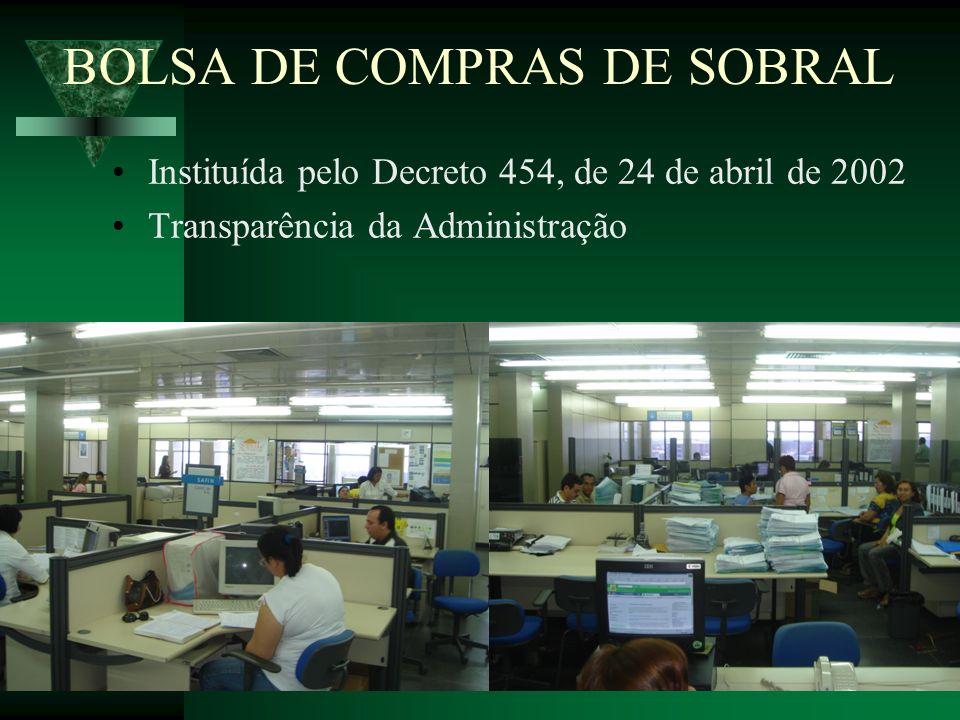 BOLSA DE COMPRAS DE SOBRAL Instituída pelo Decreto 454, de 24 de abril de 2002 Transparência da Administração