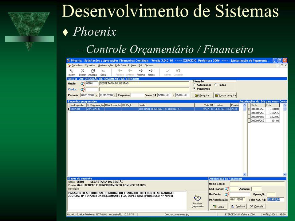 Secretaria da Gestão - Nov / 200619 Phoenix –Controle Orçamentário / Financeiro Desenvolvimento de Sistemas