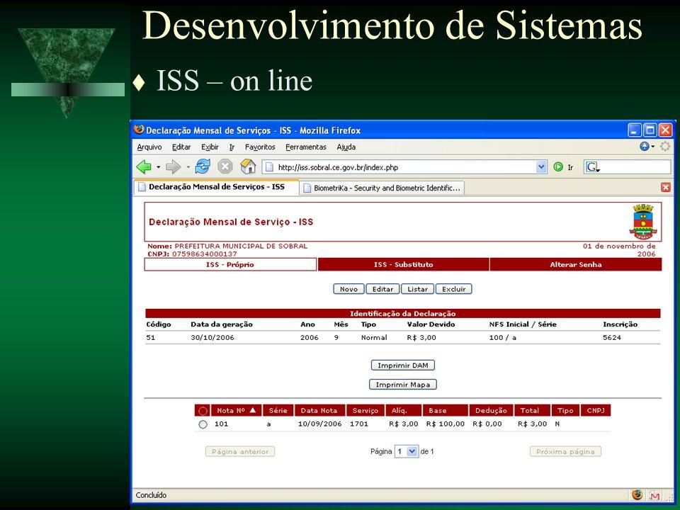 Secretaria da Gestão - Nov / 200623 ISS – on line Desenvolvimento de Sistemas