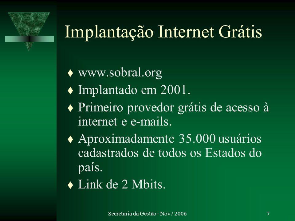 Secretaria da Gestão - Nov / 20068 Projeto Sobral Via Wireless Implantação Setembro / 2006