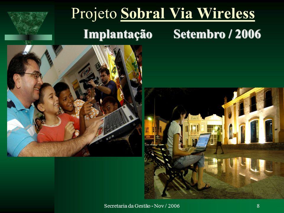 Secretaria da Gestão - Nov / 20069 Projeto Sobral Via Wireless Internet sem fio gratuita Implantado em Setembro de 2006.