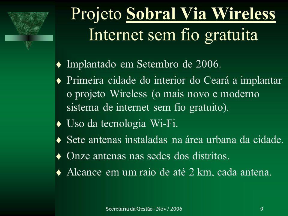 Secretaria da Gestão - Nov / 20069 Projeto Sobral Via Wireless Internet sem fio gratuita Implantado em Setembro de 2006. Primeira cidade do interior d