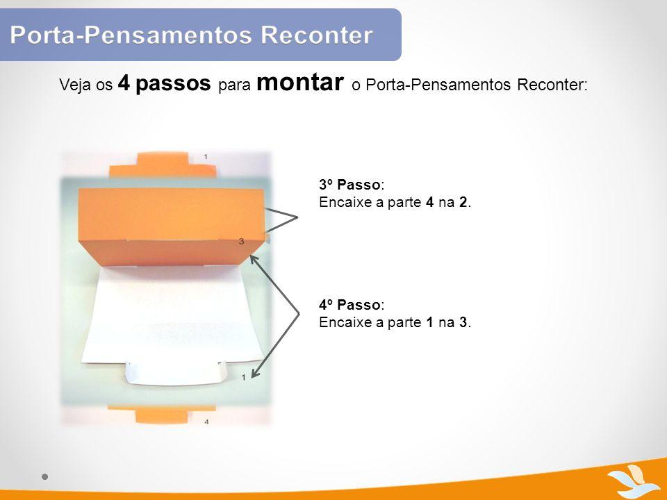 Veja os 4 passos para montar o Porta-Pensamentos Reconter: 3º Passo: Encaixe a parte 4 na 2. 4º Passo: Encaixe a parte 1 na 3.