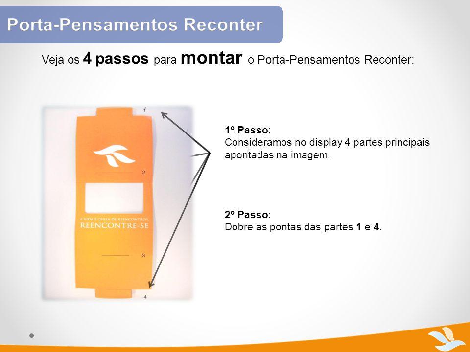 Veja os 4 passos para montar o Porta-Pensamentos Reconter: 1º Passo: Consideramos no display 4 partes principais apontadas na imagem. 2º Passo: Dobre