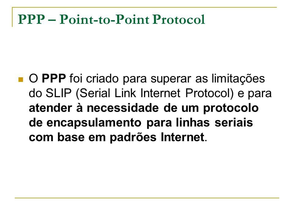 PPP – Point-to-Point Protocol O PPP foi criado para superar as limitações do SLIP (Serial Link Internet Protocol) e para atender à necessidade de um protocolo de encapsulamento para linhas seriais com base em padrões Internet.