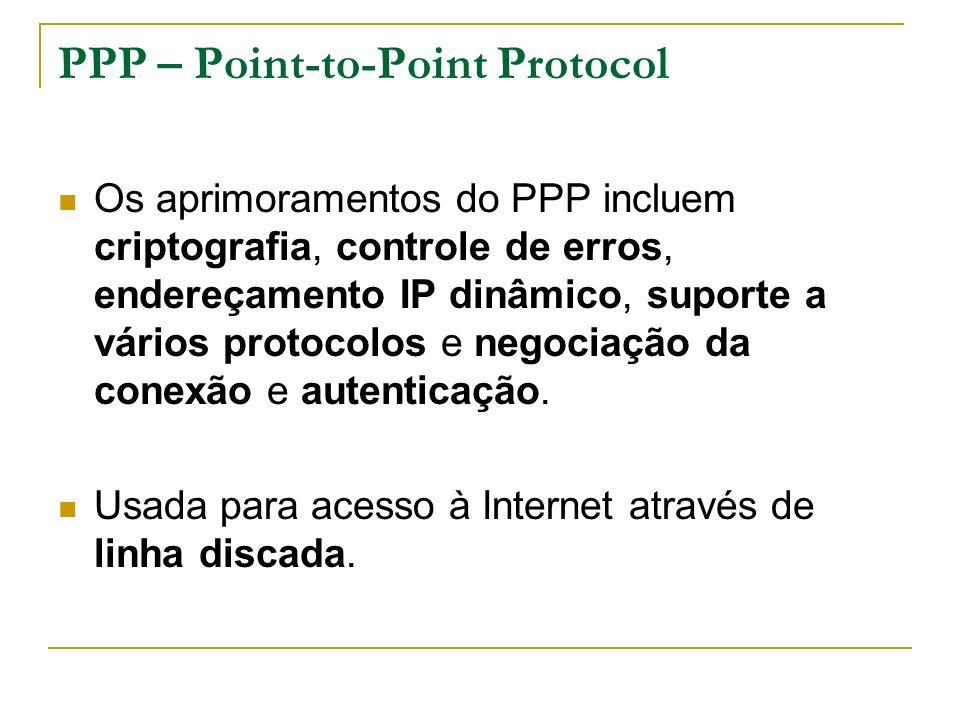 PPP – Point-to-Point Protocol Os aprimoramentos do PPP incluem criptografia, controle de erros, endereçamento IP dinâmico, suporte a vários protocolos e negociação da conexão e autenticação.