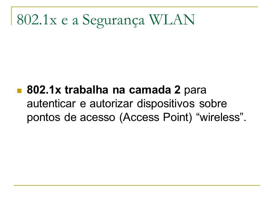 802.1x e a Segurança WLAN 802.1x trabalha na camada 2 para autenticar e autorizar dispositivos sobre pontos de acesso (Access Point) wireless.