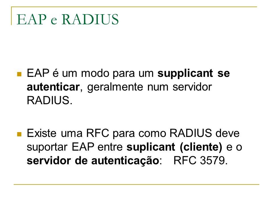 EAP e RADIUS EAP é um modo para um supplicant se autenticar, geralmente num servidor RADIUS.