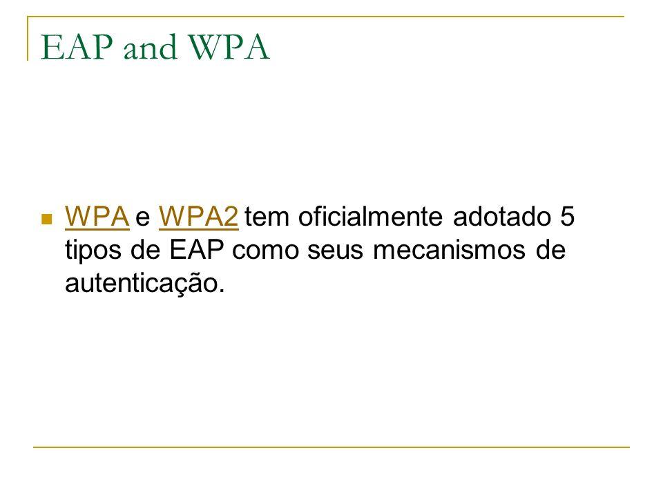EAP and WPA WPA e WPA2 tem oficialmente adotado 5 tipos de EAP como seus mecanismos de autenticação.