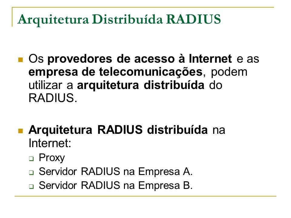 Arquitetura Distribuída RADIUS Os provedores de acesso à Internet e as empresa de telecomunicações, podem utilizar a arquitetura distribuída do RADIUS.