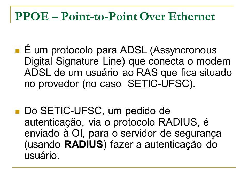 PPOE – Point-to-Point Over Ethernet É um protocolo para ADSL (Assyncronous Digital Signature Line) que conecta o modem ADSL de um usuário ao RAS que fica situado no provedor (no caso SETIC-UFSC).