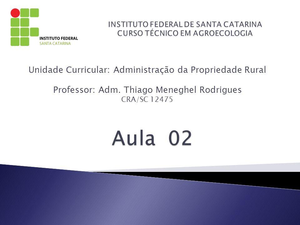 Unidade Curricular: Administração da Propriedade Rural Professor: Adm. Thiago Meneghel Rodrigues CRA/SC 12475