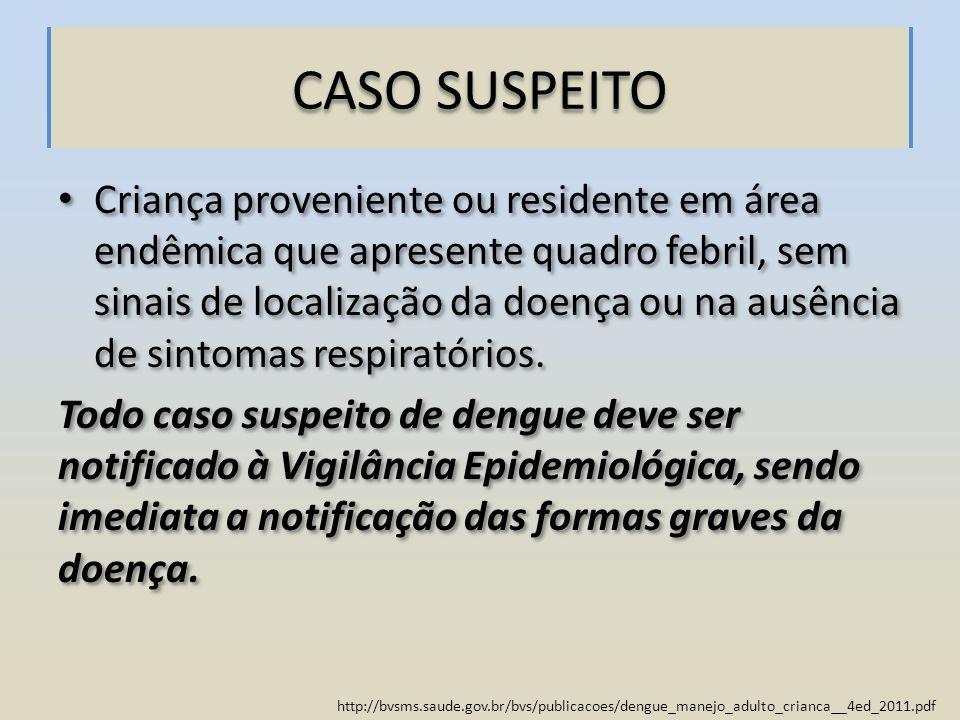 http://bvsms.saude.gov.br/bvs/publicacoes/dengue_manejo_adulto_crianca__4ed_2011.pdf CASO SUSPEITO Criança proveniente ou residente em área endêmica q