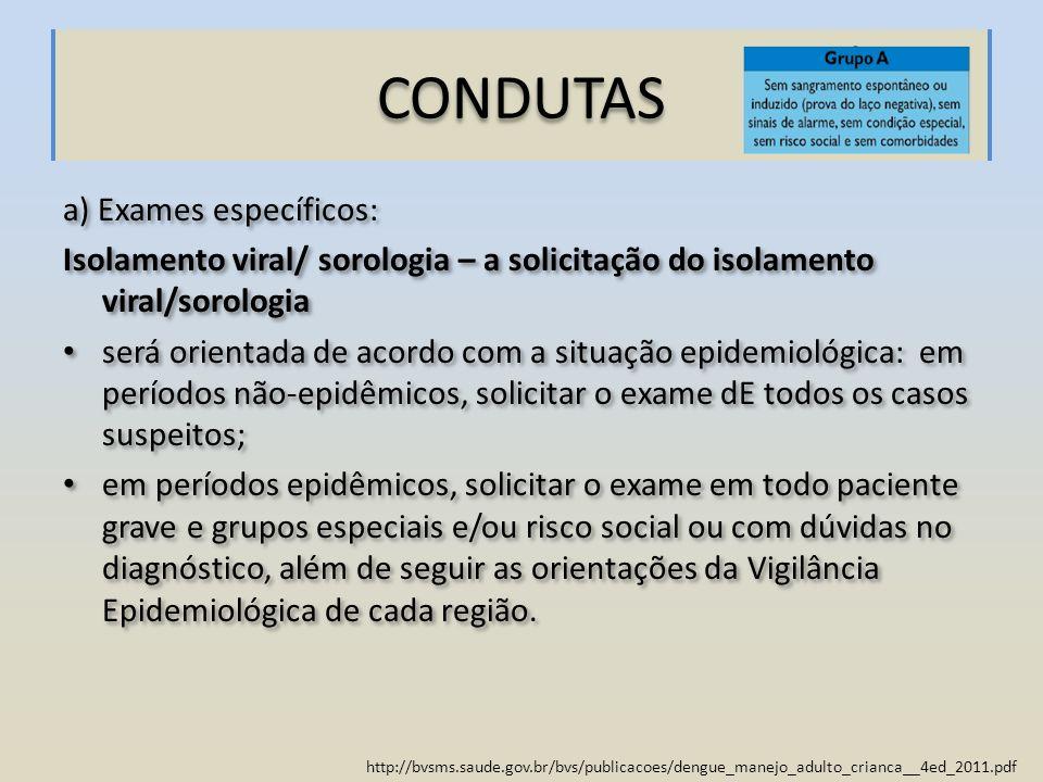 CONDUTAS a) Exames específicos: Isolamento viral/ sorologia – a solicitação do isolamento viral/sorologia será orientada de acordo com a situação epid