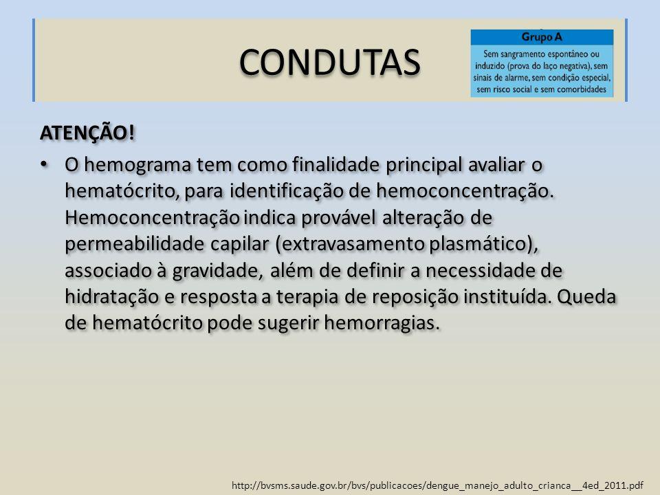 http://bvsms.saude.gov.br/bvs/publicacoes/dengue_manejo_adulto_crianca__4ed_2011.pdf CONDUTAS ATENÇÃO! O hemograma tem como finalidade principal avali