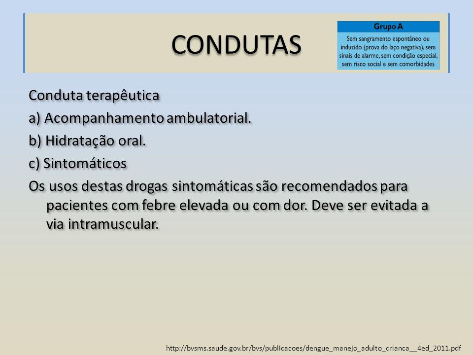 CONDUTAS Conduta terapêutica a) Acompanhamento ambulatorial. b) Hidratação oral. c) Sintomáticos Os usos destas drogas sintomáticas são recomendados p