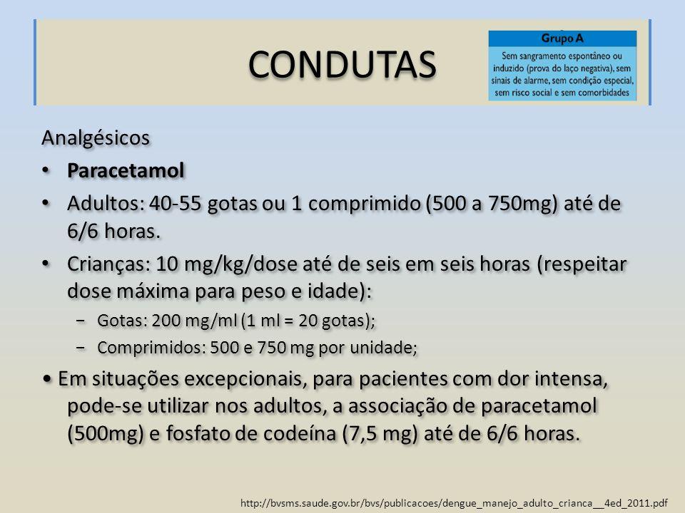 http://bvsms.saude.gov.br/bvs/publicacoes/dengue_manejo_adulto_crianca__4ed_2011.pdf CONDUTAS Analgésicos Paracetamol Adultos: 40-55 gotas ou 1 compri