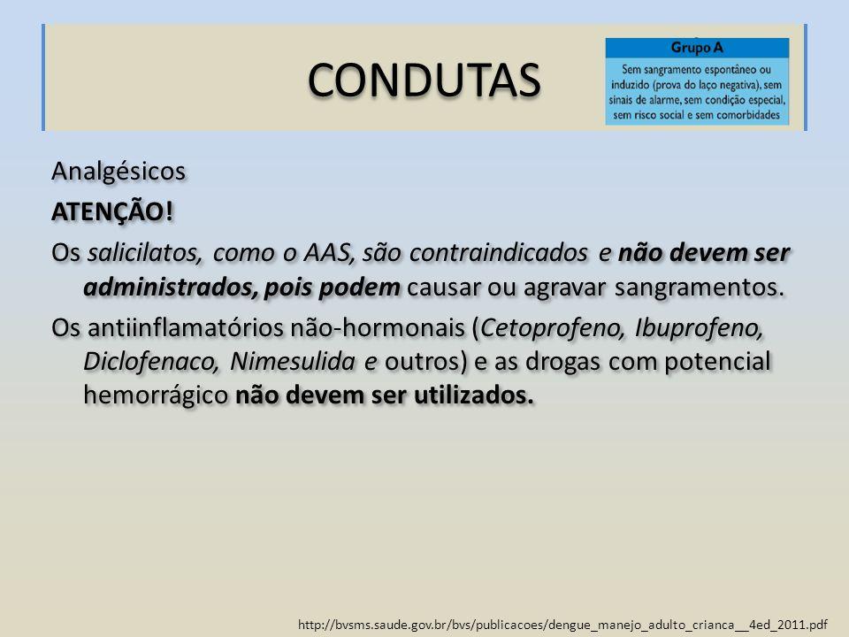 http://bvsms.saude.gov.br/bvs/publicacoes/dengue_manejo_adulto_crianca__4ed_2011.pdf CONDUTAS Analgésicos ATENÇÃO! Os salicilatos, como o AAS, são con