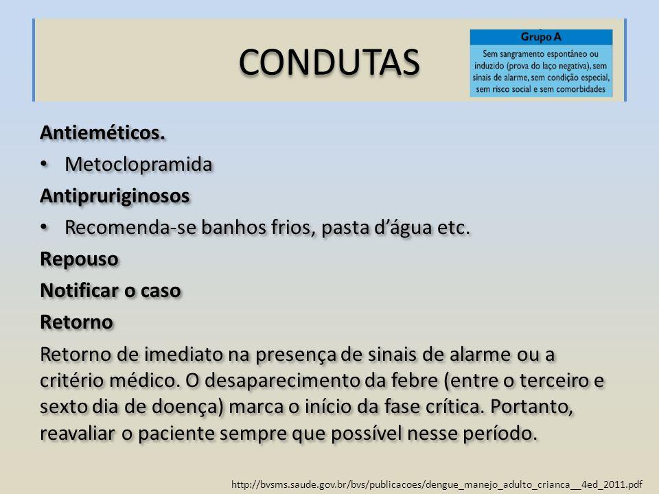 http://bvsms.saude.gov.br/bvs/publicacoes/dengue_manejo_adulto_crianca__4ed_2011.pdf CONDUTAS Antieméticos. Metoclopramida Antipruriginosos Recomenda-