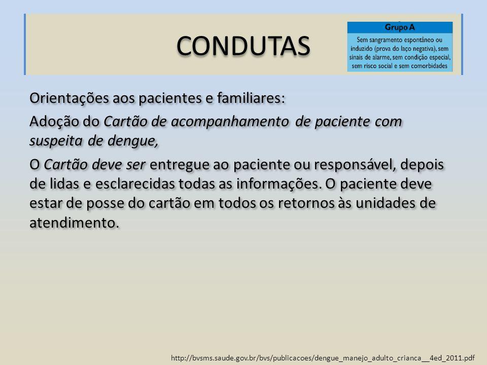 http://bvsms.saude.gov.br/bvs/publicacoes/dengue_manejo_adulto_crianca__4ed_2011.pdf CONDUTAS Orientações aos pacientes e familiares: Adoção do Cartão