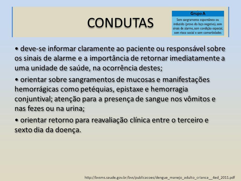 http://bvsms.saude.gov.br/bvs/publicacoes/dengue_manejo_adulto_crianca__4ed_2011.pdf CONDUTAS deve-se informar claramente ao paciente ou responsável s