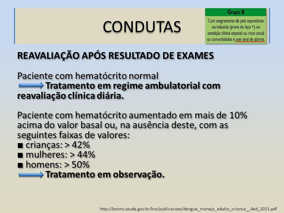 http://bvsms.saude.gov.br/bvs/publicacoes/dengue_manejo_adulto_crianca__4ed_2011.pdf CONDUTAS REAVALIAÇÃO APÓS RESULTADO DE EXAMES Paciente com hemató
