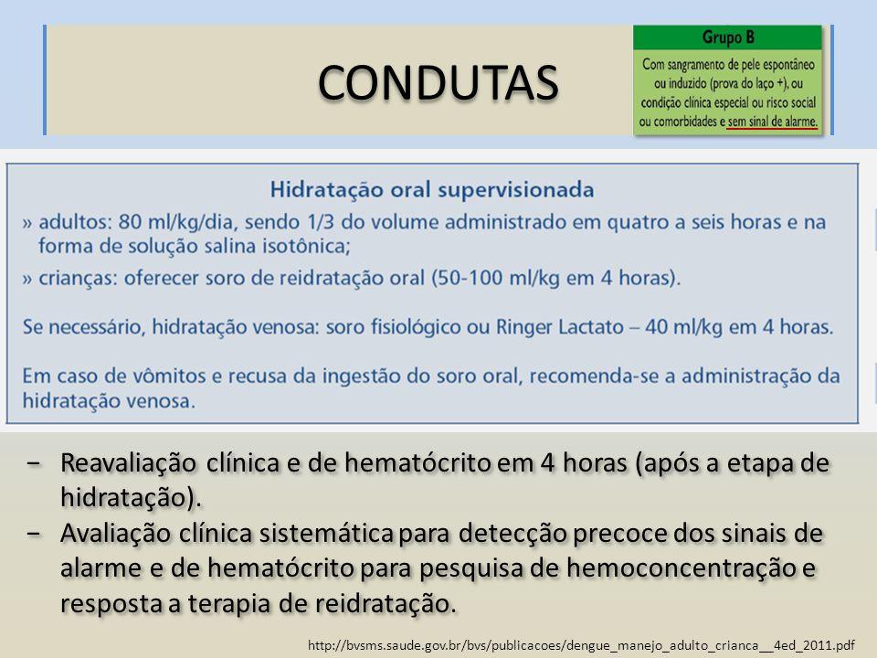http://bvsms.saude.gov.br/bvs/publicacoes/dengue_manejo_adulto_crianca__4ed_2011.pdf CONDUTAS Reavaliação clínica e de hematócrito em 4 horas (após a