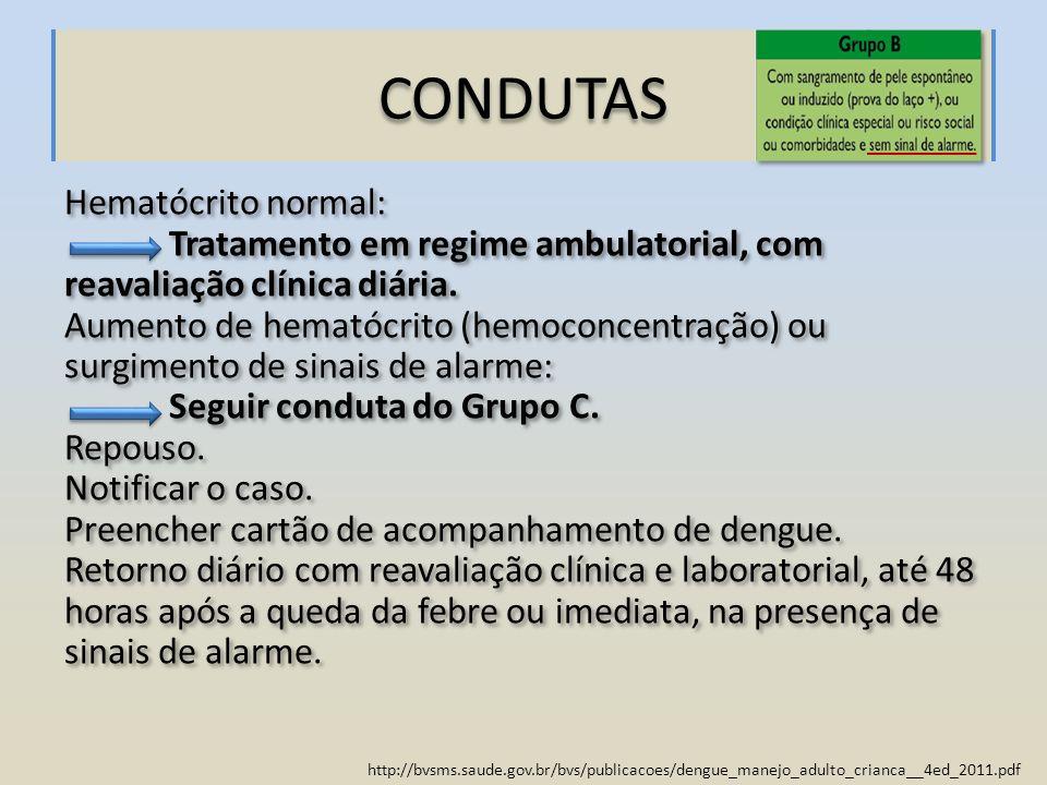 http://bvsms.saude.gov.br/bvs/publicacoes/dengue_manejo_adulto_crianca__4ed_2011.pdf CONDUTAS Hematócrito normal: Tratamento em regime ambulatorial, c