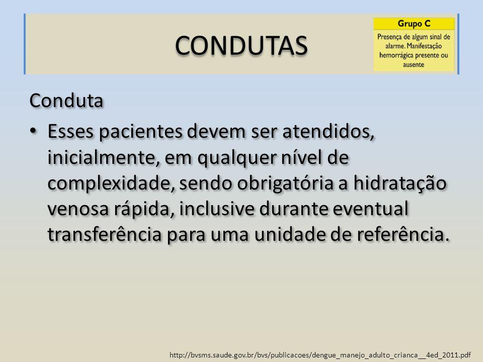 http://bvsms.saude.gov.br/bvs/publicacoes/dengue_manejo_adulto_crianca__4ed_2011.pdf CONDUTAS Conduta Esses pacientes devem ser atendidos, inicialment