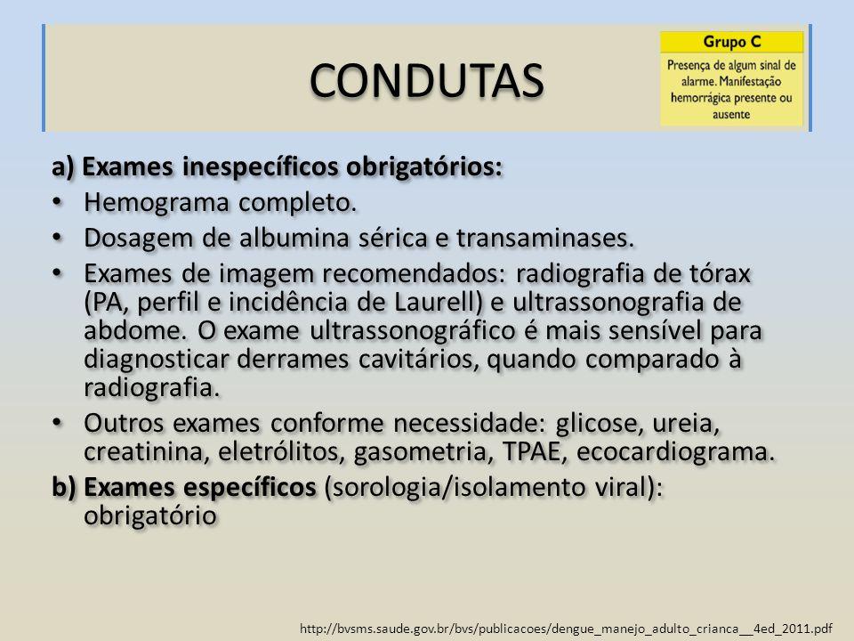 http://bvsms.saude.gov.br/bvs/publicacoes/dengue_manejo_adulto_crianca__4ed_2011.pdf CONDUTAS a) Exames inespecíficos obrigatórios: Hemograma completo