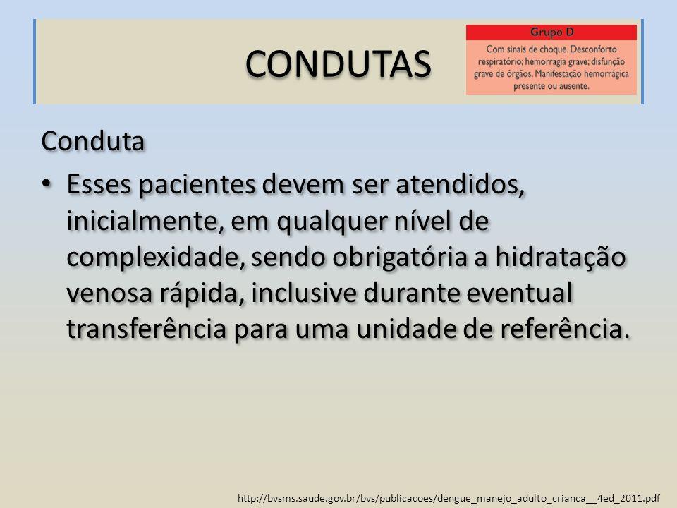 http://bvsms.saude.gov.br/bvs/publicacoes/dengue_manejo_adulto_crianca__4ed_2011.pdf Conduta Esses pacientes devem ser atendidos, inicialmente, em qua