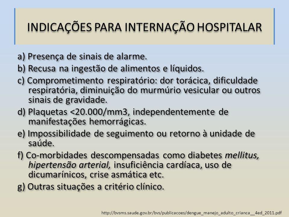 http://bvsms.saude.gov.br/bvs/publicacoes/dengue_manejo_adulto_crianca__4ed_2011.pdf INDICAÇÕES PARA INTERNAÇÃO HOSPITALAR a) Presença de sinais de al