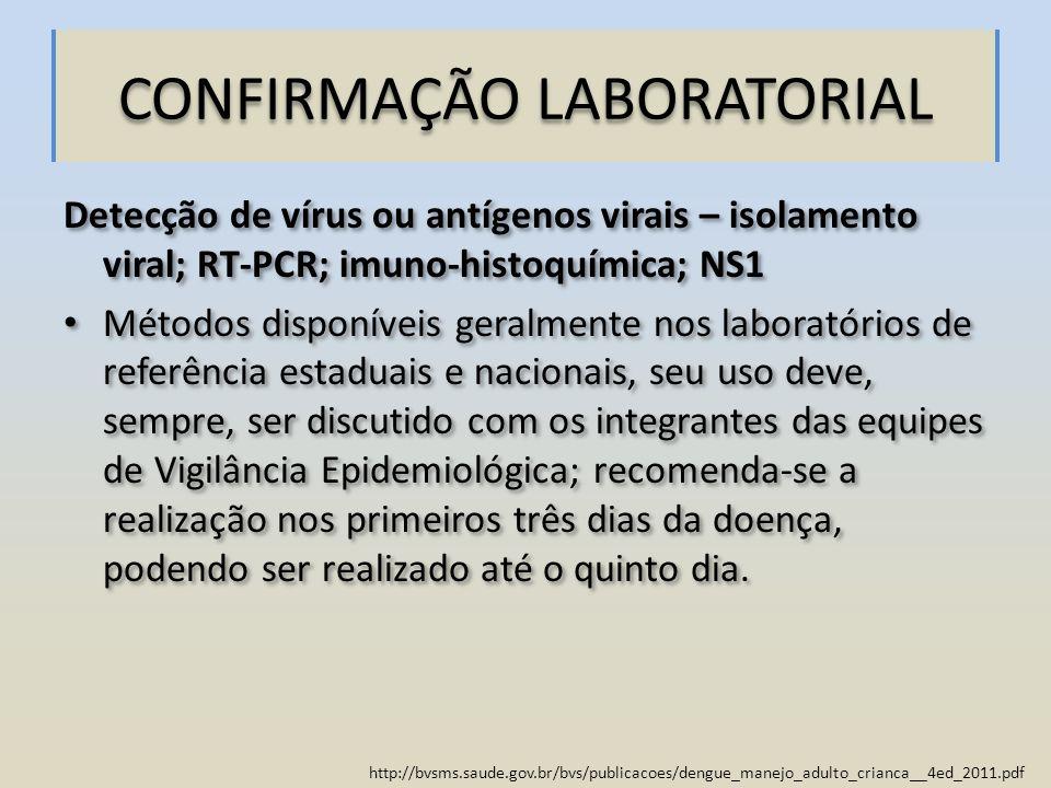 http://bvsms.saude.gov.br/bvs/publicacoes/dengue_manejo_adulto_crianca__4ed_2011.pdf CONFIRMAÇÃO LABORATORIAL Detecção de vírus ou antígenos virais –
