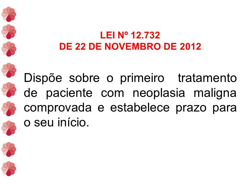 LEI Nº 12.732 DE 22 DE NOVEMBRO DE 2012 Dispõe sobre o primeiro tratamento de paciente com neoplasia maligna comprovada e estabelece prazo para o seu início.