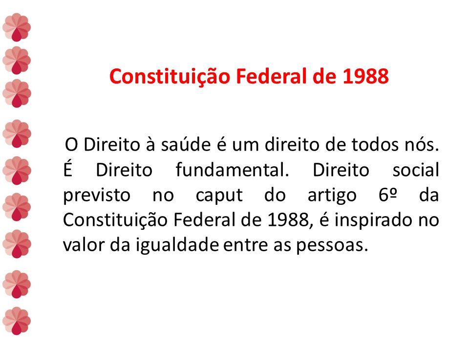 Constituição Federal de 1988 O Direito à saúde é um direito de todos nós.
