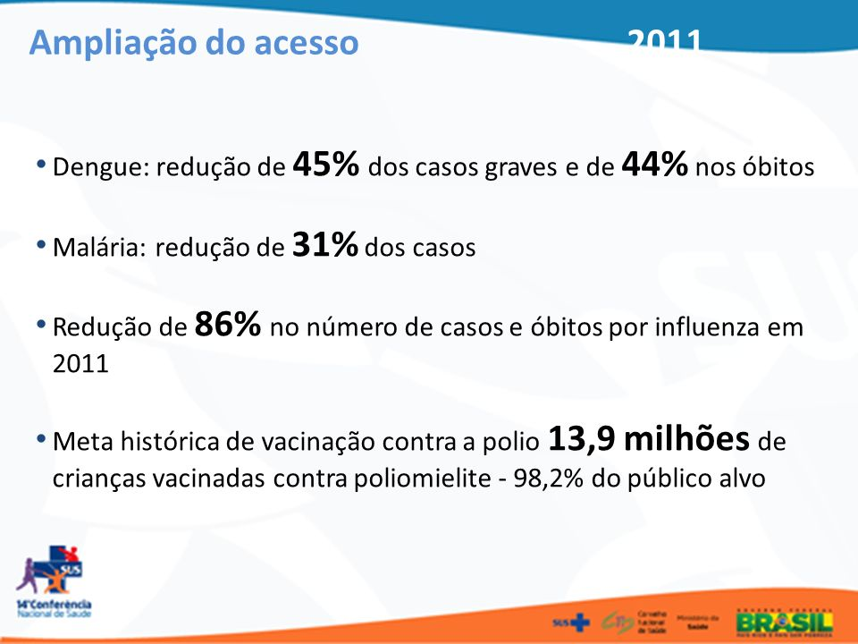 Dengue: redução de 45% dos casos graves e de 44% nos óbitos Malária: redução de 31% dos casos Redução de 86% no número de casos e óbitos por influenza