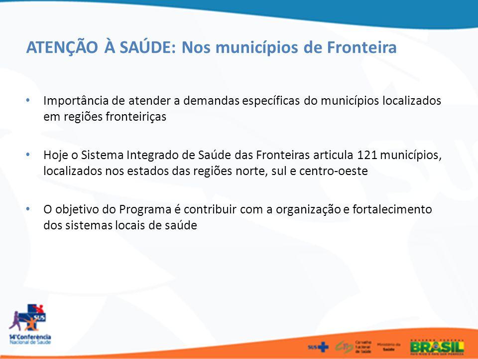 ATENÇÃO À SAÚDE: Nos municípios de Fronteira Importância de atender a demandas específicas do municípios localizados em regiões fronteiriças Hoje o Si