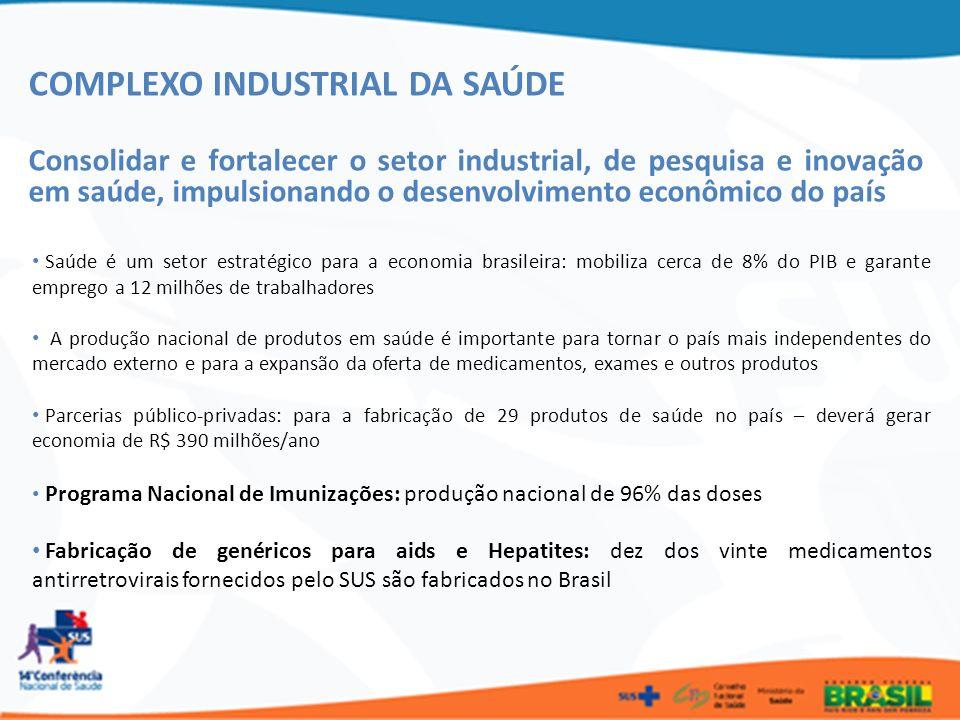 COMPLEXO INDUSTRIAL DA SAÚDE Consolidar e fortalecer o setor industrial, de pesquisa e inovação em saúde, impulsionando o desenvolvimento econômico do