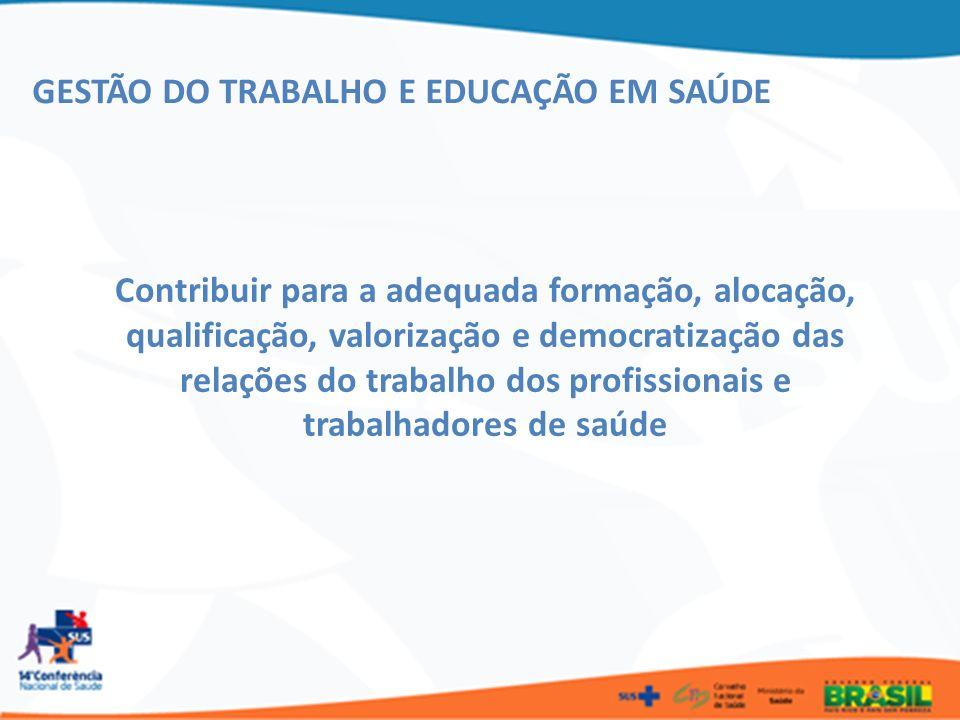 Contribuir para a adequada formação, alocação, qualificação, valorização e democratização das relações do trabalho dos profissionais e trabalhadores d