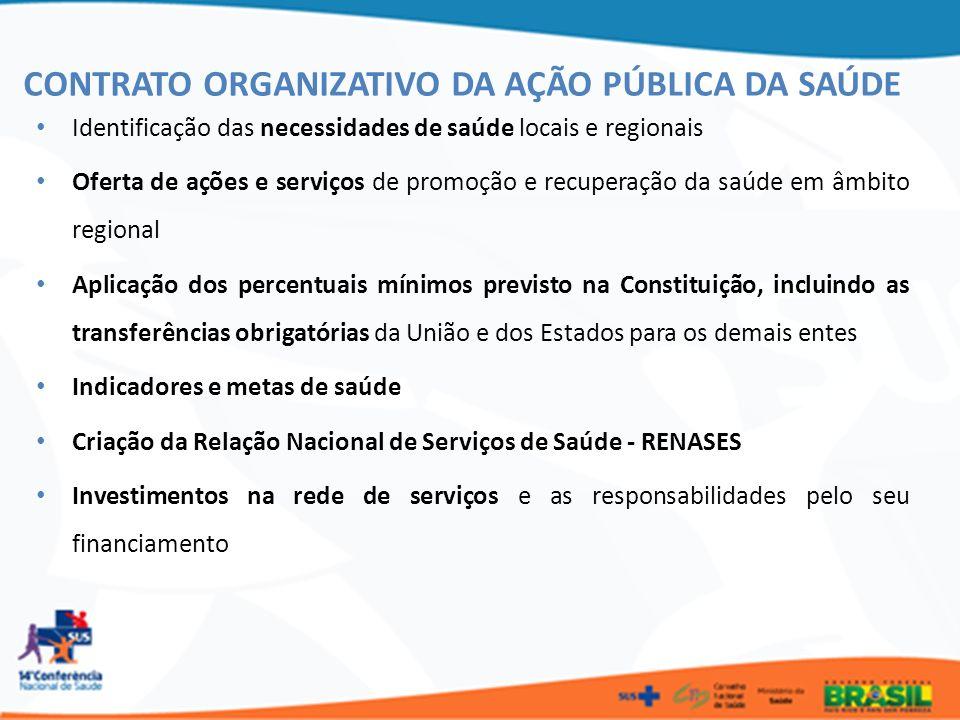 Identificação das necessidades de saúde locais e regionais Oferta de ações e serviços de promoção e recuperação da saúde em âmbito regional Aplicação